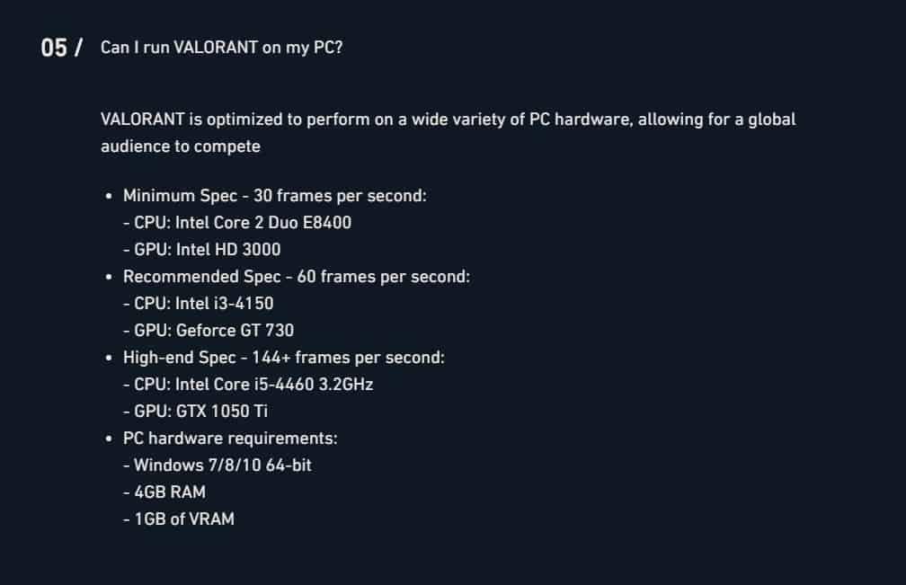 Valorant Minimum Requirements
