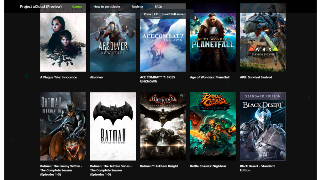 Xbox xCloud game streaming service