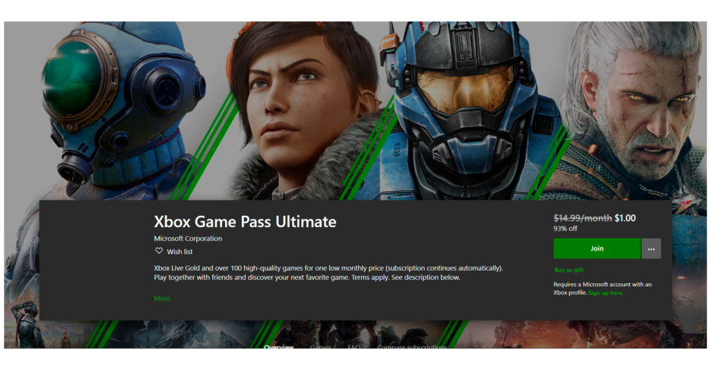 Xbox Game Pass Ultimate subscription